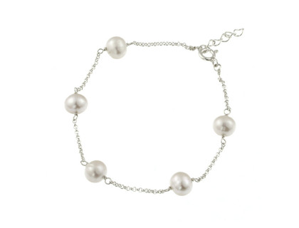 Bratara delicata din argint si perle naturale