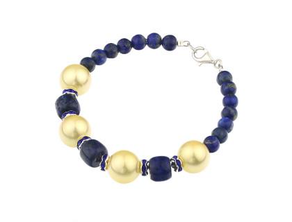 Bratara din lapis lazuli, perle de Mallorca si rhinestone