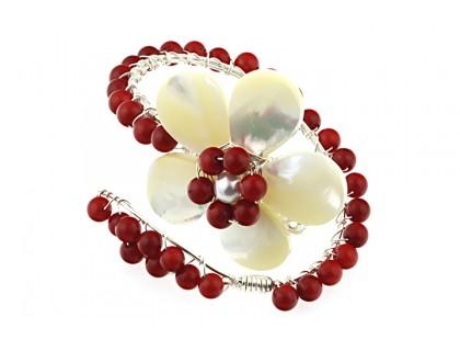 Bratara floare din sidef si coral rosu