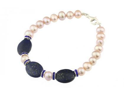 Bratara lapis lazuli si perle naturale lila