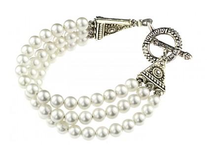 Bratara multisir din perle albe de Mallorca