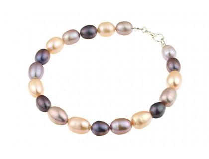 Bratara perle naturale ovale trei culori si argint