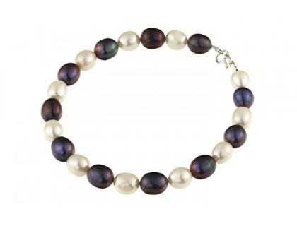 Bratara alb-negru din perle naturale ovale A si argint