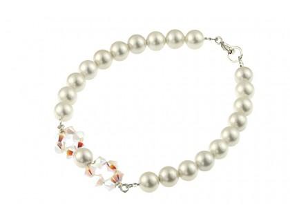 Bratara perle de Mallorca albe si cristale Swarovski