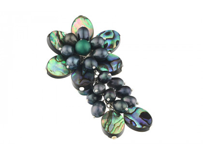 Brosa floare din sidef Paua si perle de cultura