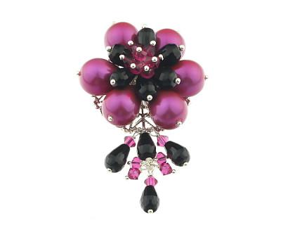 Brosa floare din perle, onix si cristale Swarovski