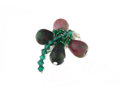 Brosa libelula din jad si cristale Swarovski Emerald