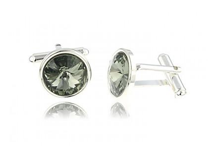 Butoni din argint si Swarovski Black Diamond