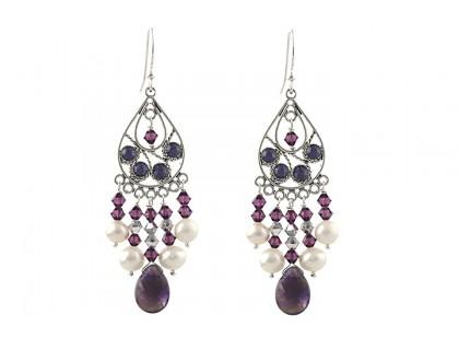 Cercei candelabru din ametist, perle si cristale Swarovski