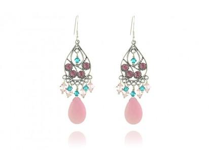 Cercei candelabru din cristale Swarovski si jad roz