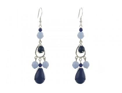 Cercei candelabru din jad bleumarin si jad bleu