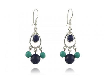 Cercei candelabru din lapis lazuli si turcoaz