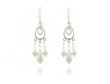 Cercei candelabru din perle de Mallorca si cristale Swarovski