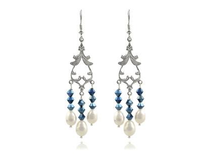 Cercei din perle naturale albe si cristale Swarovski