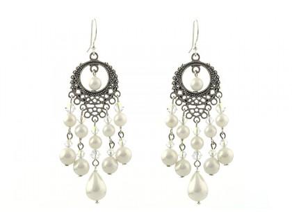 Cercei candelabru perle de Mallorca si cristale Swarovski