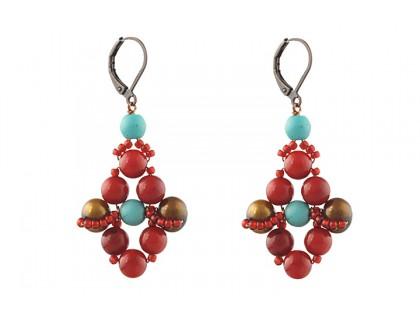 Cercei coral, turcoaz si perle de cultura maro