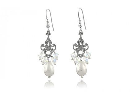 Cercei din argint, perle Mallorca si cristale Swarovski