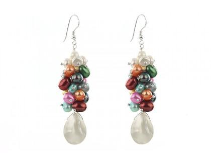 Cercei din perle de cultura multicolore si sidef alb