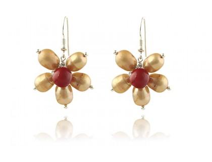 Cercei floare perle de cultura si perle de Mallorca