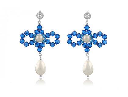 Cercei fundite din perle Mallorca si cristale Swarovski