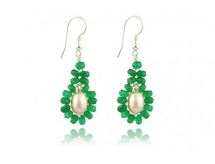 Cercei jad verde si perle de cultura