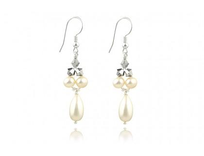 Cercei perle naturale si cristale Swarovski