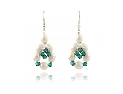 Cercei perle de cultura si Swarovski Emerald