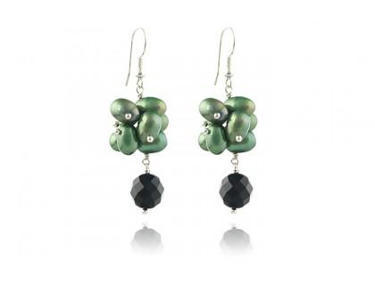 Cercei perle de cultura verzi si onix