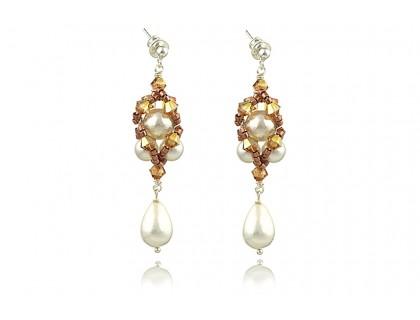 Cercei perle de Mallorca si cristale Swarovski Sunshine