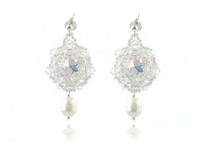 Cercei rivoli din Swarovski Crystal AB si perle de cultura