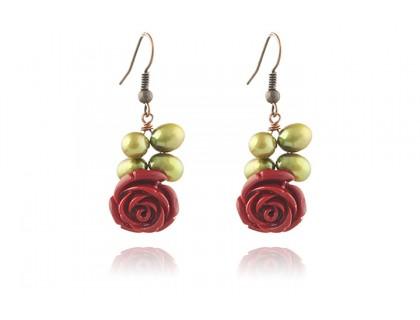 Cercei trandafiri coral rosu si perle oliv