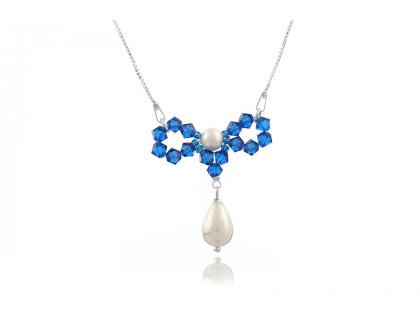 Colier fundita din argint, perle Mallorca si cristale Swarovski