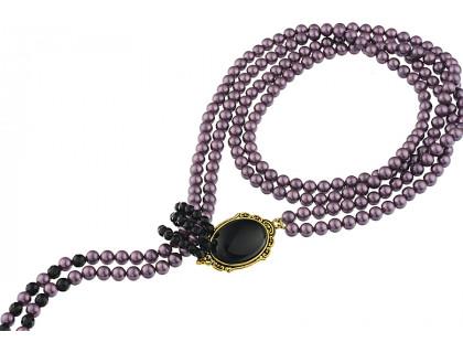 Colier cravata din perle de Mallorca si onix