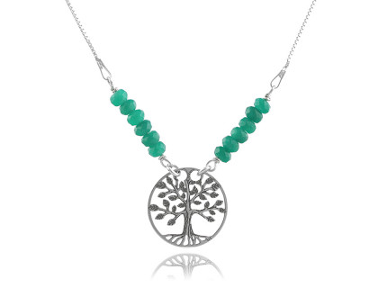 Colier din argint si jad - Copacul Vietii