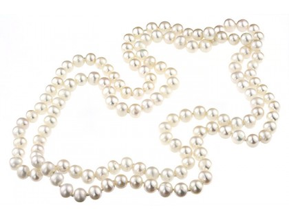 Colier lung perle de cultura albe 7 - 8 mm A