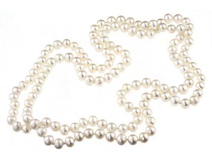 Colier lung perle de cultura albe 8 - 9 mm AA
