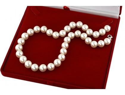 Colier perle de cultura albe 12 - 13 mm, calitate AAAA si argint