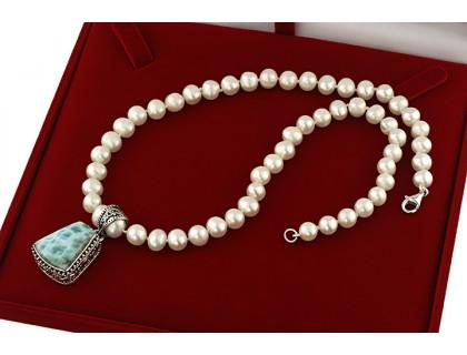 Colier unicat larimar in argint masiv si perle de cultura