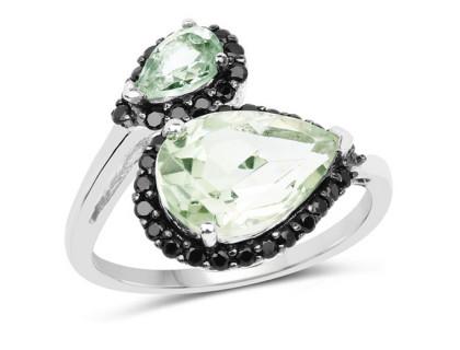 Inel din argint, ametist verde, peridot si spinel
