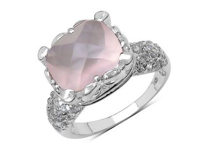 Inel din argint placat cu rodiu, cuart roz si zirconia