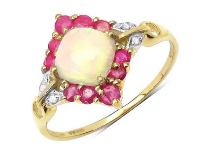 Inel din argint, opal etiopian si diamante albe