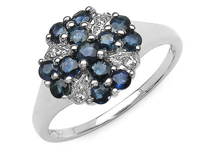 Inel din argint, safire albastre si topaz alb