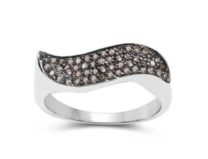 Inel din argint si diamante sampanie