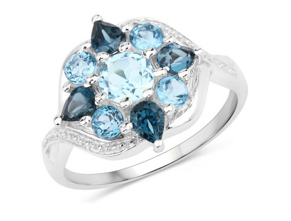 Inel din argint, topaz albastru si topaz albastru londonez