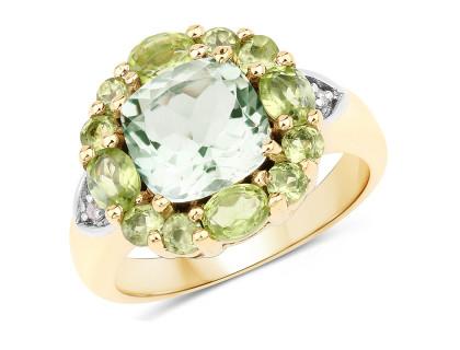 Inel din argint placat cu aur si ametist verde
