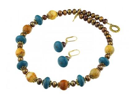 Set agat, turcoaz si perle de cultura