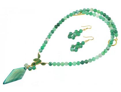 Set agat verde si pandantiv romboid