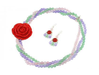 Set asimetric din cuart roz, jad pastel si trandafir rosu