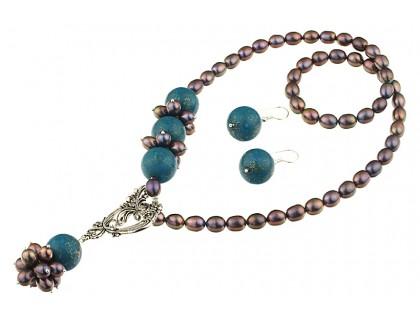 Set asimetric perle naturale negre si turcoaz