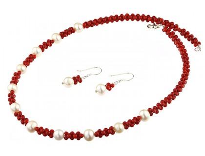 Set coral rosu, perle de cultura si argint